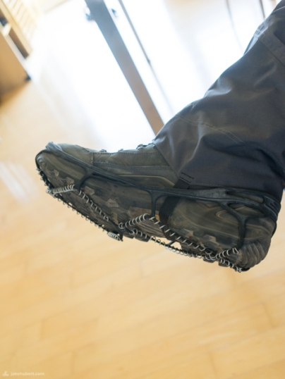 Voila! Hiking boots transformed into durable snow-drift-destroyers.
